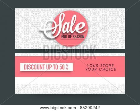 Beautiful floral design decorated Sale website header or banner set with 50% discount offer.