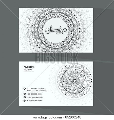 Professional business card set with place holders for your contact details, decorated with traditional floral design.