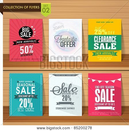 Set of six different Sale flyers with fantastic discount offer on wooden background.