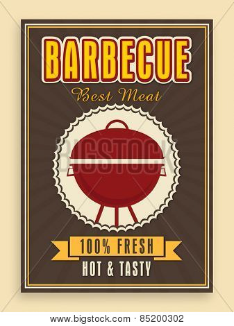 Hot and Tasty, Barbecue menu card, template or flyer design on vintage background.