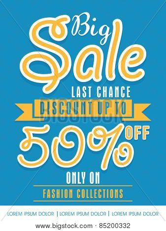 Big Sale with 50% discount offer only on fashion collection, can be used as flyer, poster or banner design.