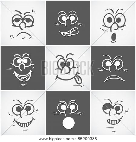 Funny faces set with different expressions on grey background.