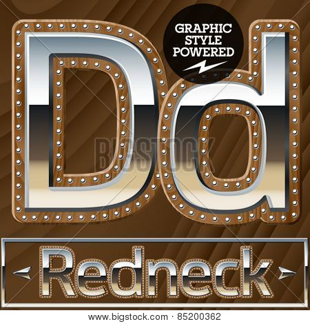 Vector set of silver country style font with wooden rivet border. Letter D