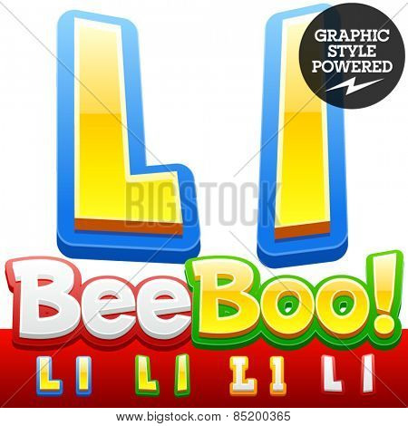 Vector set of 3D colorful children font in cartoon style. Optional different colors. Letter L