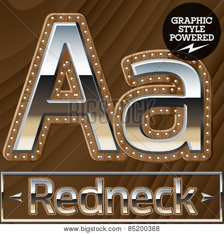 Vector set of silver country style font with wooden rivet border. Letter A