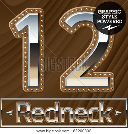 Vector set of silver country style font with wooden rivet border. Numbers 1 2