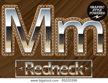 Vector set of silver country style font with wooden rivet border. Letter M