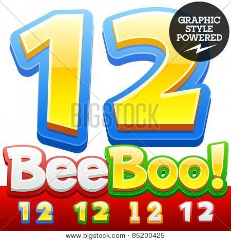 Vector set of 3D colorful children font in cartoon style. Optional different colors. Numbers 1 2