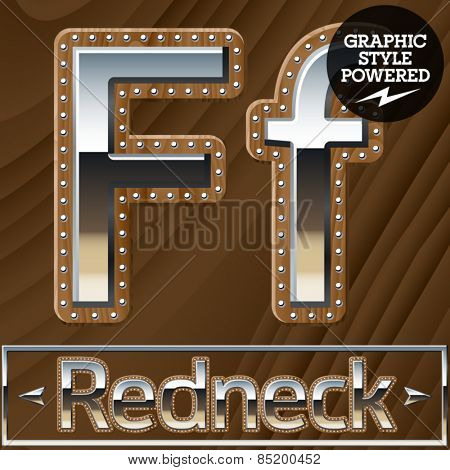 Vector set of silver country style font with wooden rivet border. Letter F