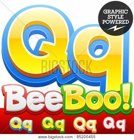 Vector set of 3D colorful children font in cartoon style. Optional different colors. Letter Q