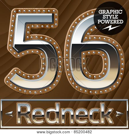 Vector set of silver country style font with wooden rivet border. Numbers 5 6