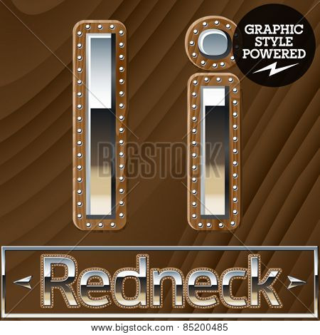 Vector set of silver country style font with wooden rivet border. Letter I