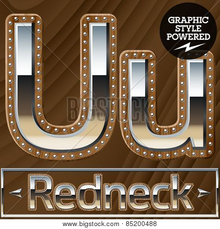 Vector set of silver country style font with wooden rivet border. Letter U