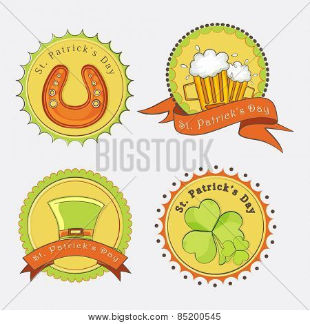 Vintage sticker, tag or label design with St. Patrick's Day elements on grey background.