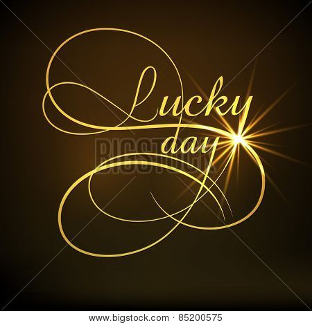 Happy St. Patrick's Day celebration greeting card design with golden text Lucky Day on shiny brown background.