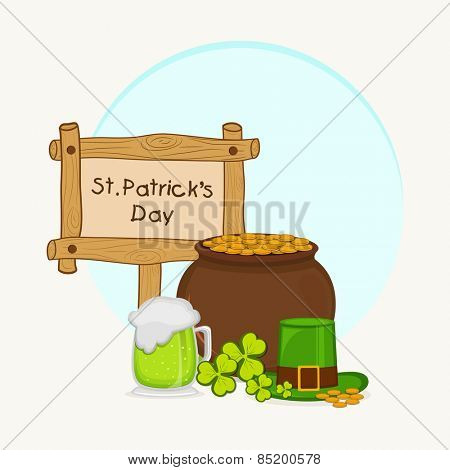 Happy St. Patrick's Day celebration with earthenware full of coins, beer, clover leaves and leprechauns hat on sky blue background.
