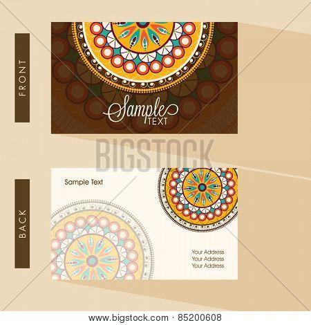 Front and back side presentation of a beautiful business card decorated with colorful floral design.