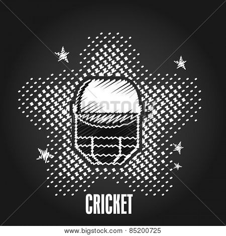 Creative illustration of batsman helmet for Cricket on stars decorated black background.