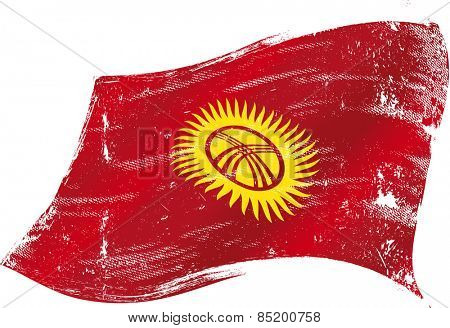 Kyrgyzstan grunge flag. Flag of Kyrgyzstan in the wind with a texture