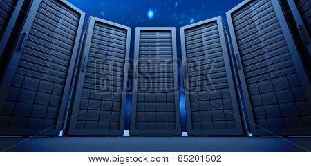 Server room against stars twinkling in night sky