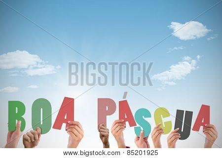 Hands holding up boa pasqua against blue sky