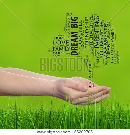 Concept or conceptual black text word cloud tagcloud, tree man or woman hand on blur green background and grass, metaphor to child, family, success, education, home, love and school learn achievement