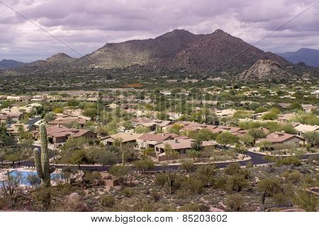 High viewpoint of Arizona north Scottsdale,Cavecreek community with Mountain in background.
