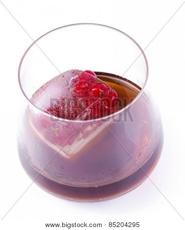 Natural, organic, self-made. Frozen berries in a glass