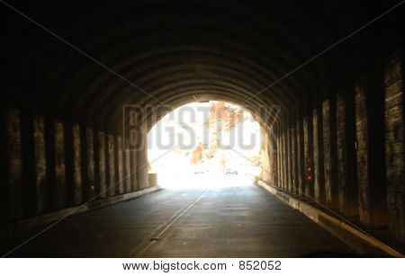 view from inside tunnel