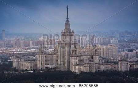 Moscow State University at winter overcast foggy day in Moscow, Russia