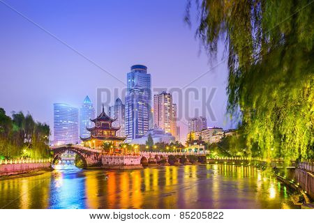Guiyang, China skyline at Jiaxiu Pavilion on the Nanming River.