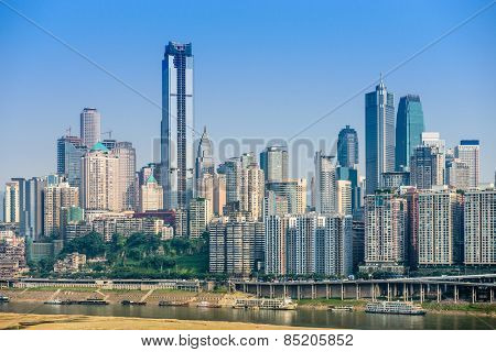 Chongqing, China cityscape in the financial district.