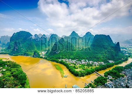Karst Mountain landscape on the Li River in rural Guilin, Guangxi, China.
