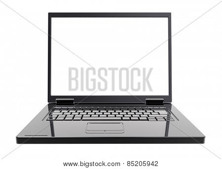 Laptop with blank white screen isolated over white. Computer generated 3D photo rendering.