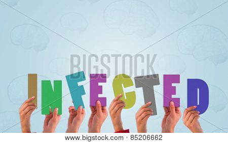 Hands holding up infected against blue brain pattern background
