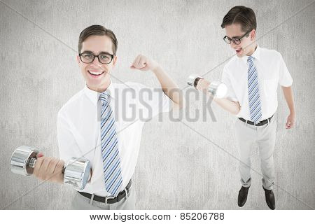Nerd lifting dumbbell against white and grey background
