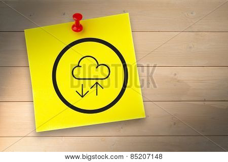 Cloud computing graphic against pinned adhesive note