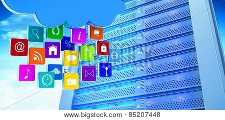 Cloud with apps against server tower