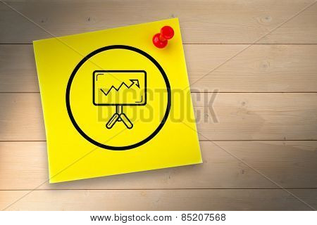 Presentation graphic against yellow pinned adhesive note