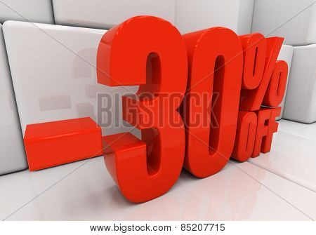 30 percent off. Discount 30. 3D illustration
