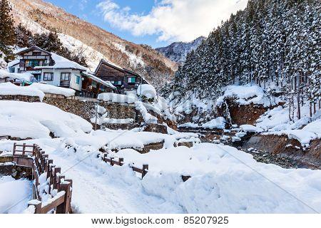 Beautiful winter landscape of Japan Nagano area