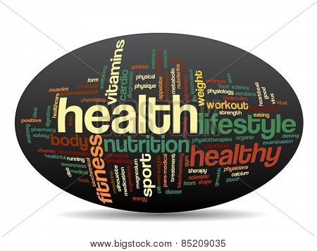 Concept or conceptual abstract word cloud with a hand on touch screen on black background for health, nutrition, diet, wellness, body, energy, medical, fitness, medical, gym, medicine, sport or heart