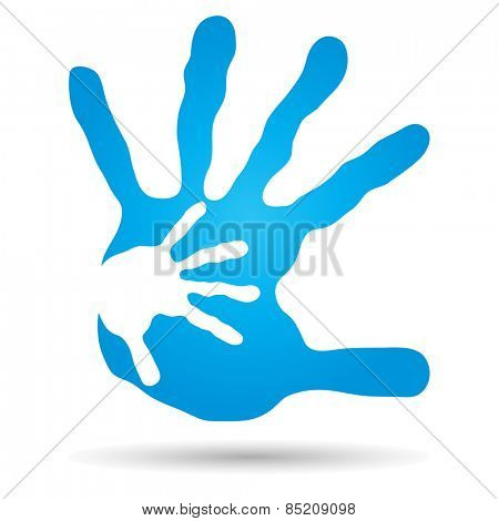 Concept or conceptual human or mother and child hand prints painted, isolated on white background  for art, care, childhood, family, fun, happy, infant, symbol, kid,  love, mom, motherhood or young