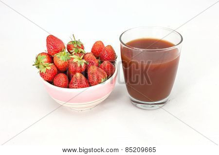 Small White Bowl Filled With Red Strawberries
