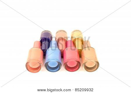 Nail Polish On Top Isolated Over White