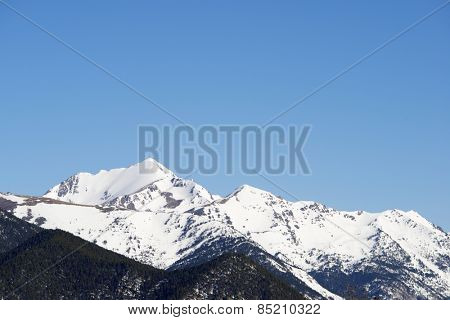Winter landscape in the Pyrenees, Andorra.