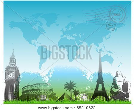 Travel europe landmarks background vector illustration