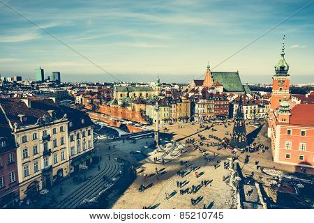 Castle Square with king's Sigismund's Column in Warsaw, Poland