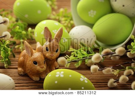 colorful easter eggs and easter rabbits