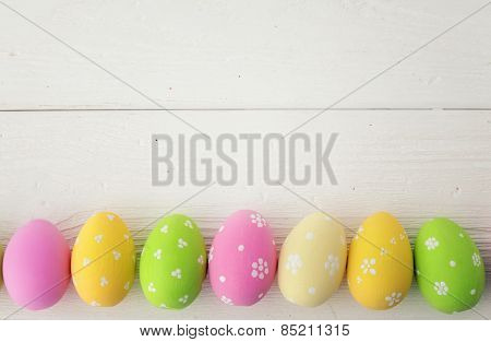 colorful easter eggs frame background